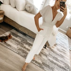 All In Favor NWT white jumpsuit